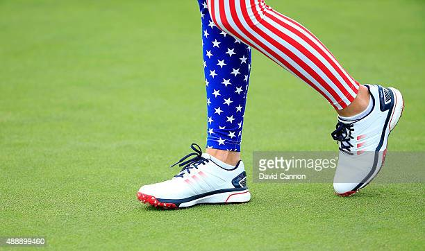 Paula Creamer of the United States wearing stars and stripes leggings during the Friday afternoon fourball matches in the 2015 Solheim Cup at St...