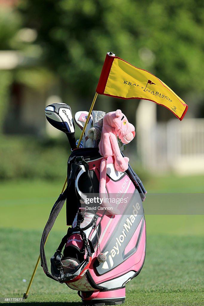 Paula Creamer of the United States's golf bag with a tournament pin flag resting on it as a preview for the 2014 Kraft Nabisco Championship on the...