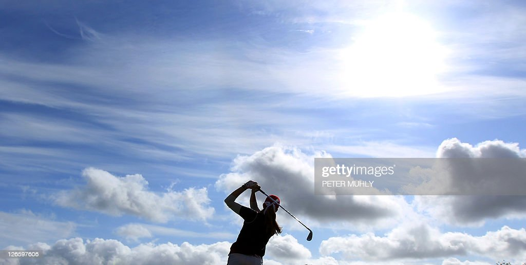 Paula Creamer of the US tees off of the 16th tee during her foursome match with Europe's Catriona Matthew and Azahara Munoz during the second day of...