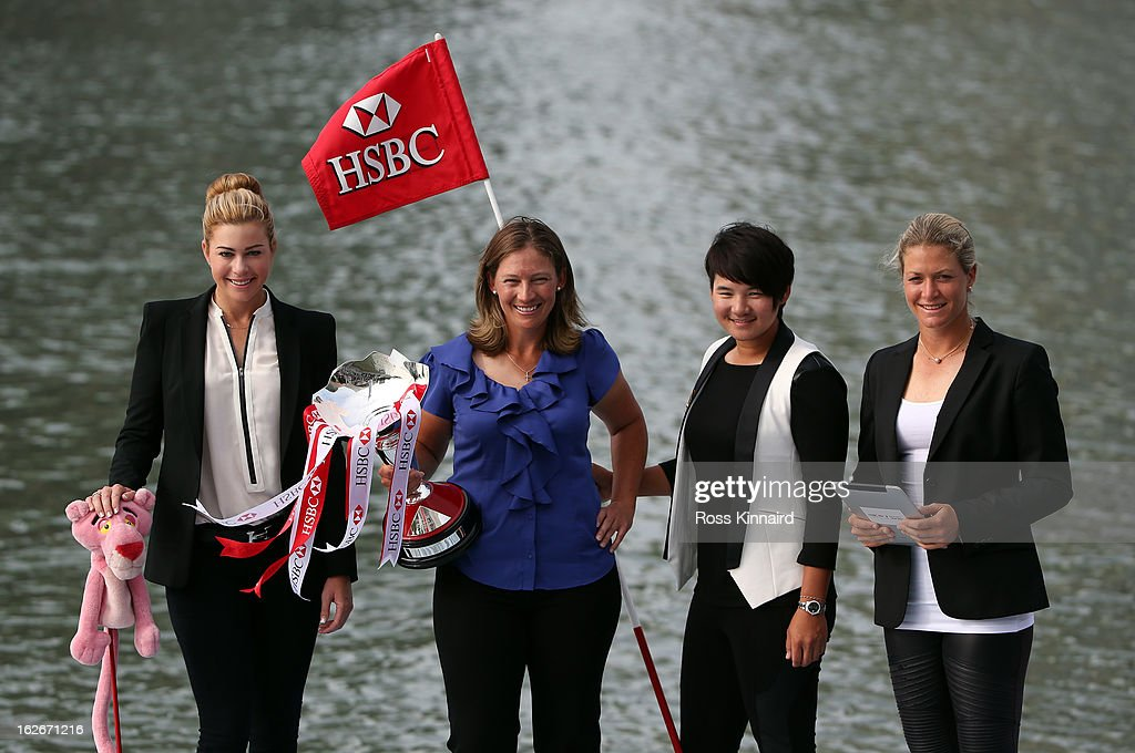 Paula Creamer of the USA, Angela Stanford of the USA, Yani Tseng of Taiwan and Suzann Pettersen of Norway pose with the trophy during a photocall in Marina Bay prior to the start of the HSBC Women's Champions at the Sentosa Golf Club on February 26, 2013 in Singapore, Singapore.
