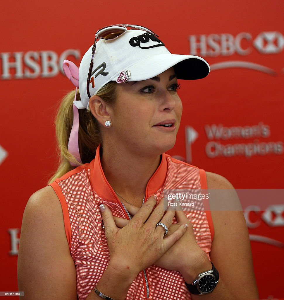 <a gi-track='captionPersonalityLinkClicked' href=/galleries/search?phrase=Paula+Creamer&family=editorial&specificpeople=209411 ng-click='$event.stopPropagation()'>Paula Creamer</a> of the USA during a press conference at the Sentosa Golf Club prior to the start of the HSBC Women's Champions at the Sentosa Golf Club on February 26, 2013 in Singapore, Singapore.