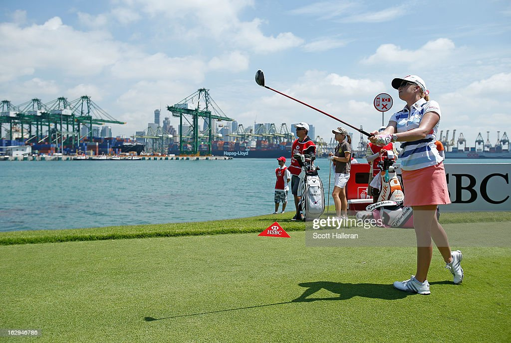 Paula Creamer of the USA hits a tee shot during the third round of the HSBC Women's Champions at the Sentosa Golf Club on March 2, 2013 in Singapore, Singapore.