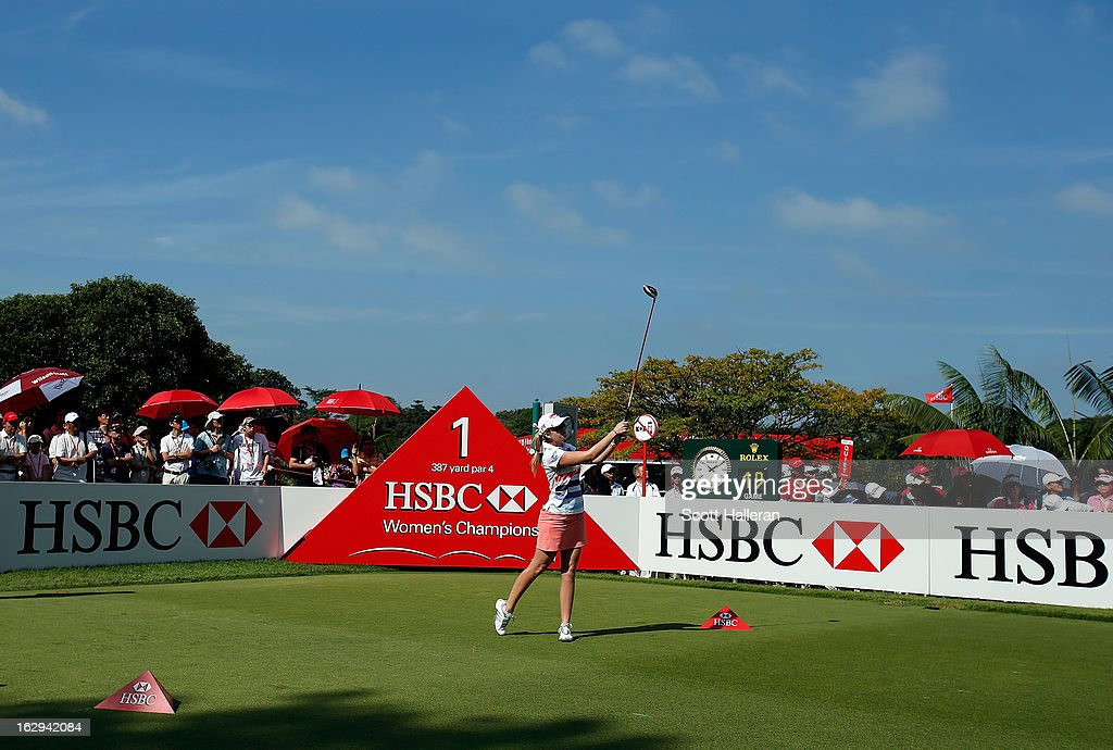 Paula Creamer of the USA hits her opening drive on the first hole during the third round of the HSBC Women's Champions at the Sentosa Golf Club on March 2, 2013 in Singapore, Singapore.