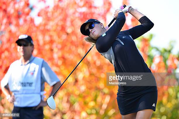 Paula Creamer of the USA hits her tee shot on the 2nd hole during the first round of the TOTO Japan Classics 2015 at the Kintetsu Kashikojima Country...