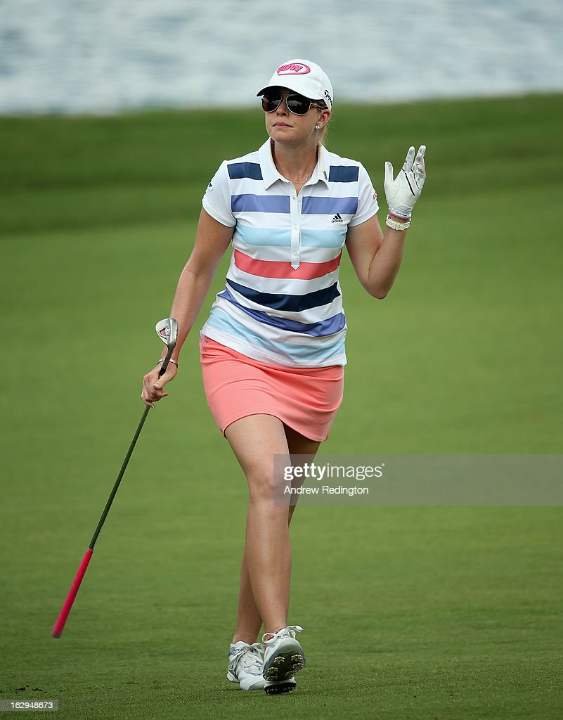Paula Creamer of the USA in action during the third round of the HSBC Women's Champions at the Sentosa Golf Club on March 2, 2013 in Singapore, Singapore.