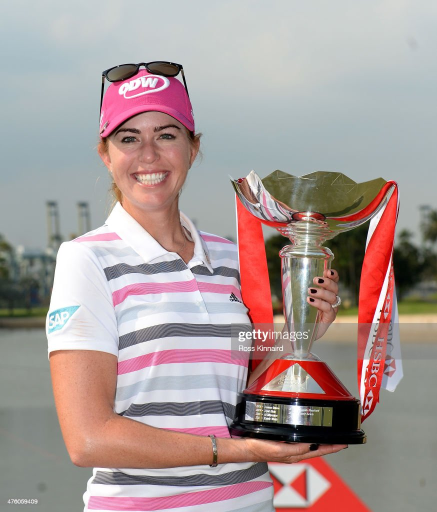 <a gi-track='captionPersonalityLinkClicked' href=/galleries/search?phrase=Paula+Creamer&family=editorial&specificpeople=209411 ng-click='$event.stopPropagation()'>Paula Creamer</a> of the USA poses with the trophy after sealing victory in a play-off during the final round of the HSBC Women's Champions at the Sentosa Golf Club on March 2, 2014 in Singapore, Singapore.