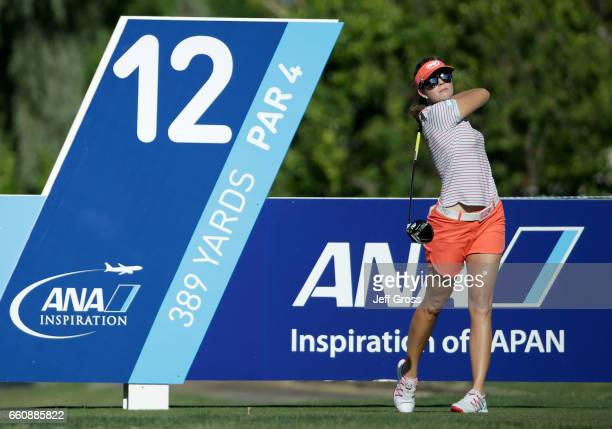 Paula Creamer plays her tee shot on the 12th hole during the first round of the ANA Inspiration at the Dinah Shore Tournament Course at Mission Hills...
