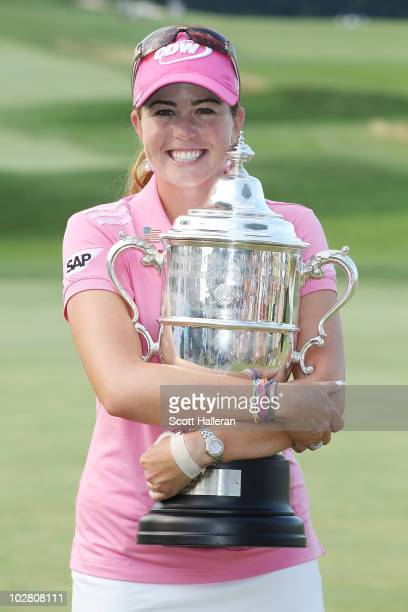 Paula Creamer poses with the trophy after her fourstroke victory at the 2010 US Women's Open at Oakmont Country Club on July 11 2010 in Oakmont...