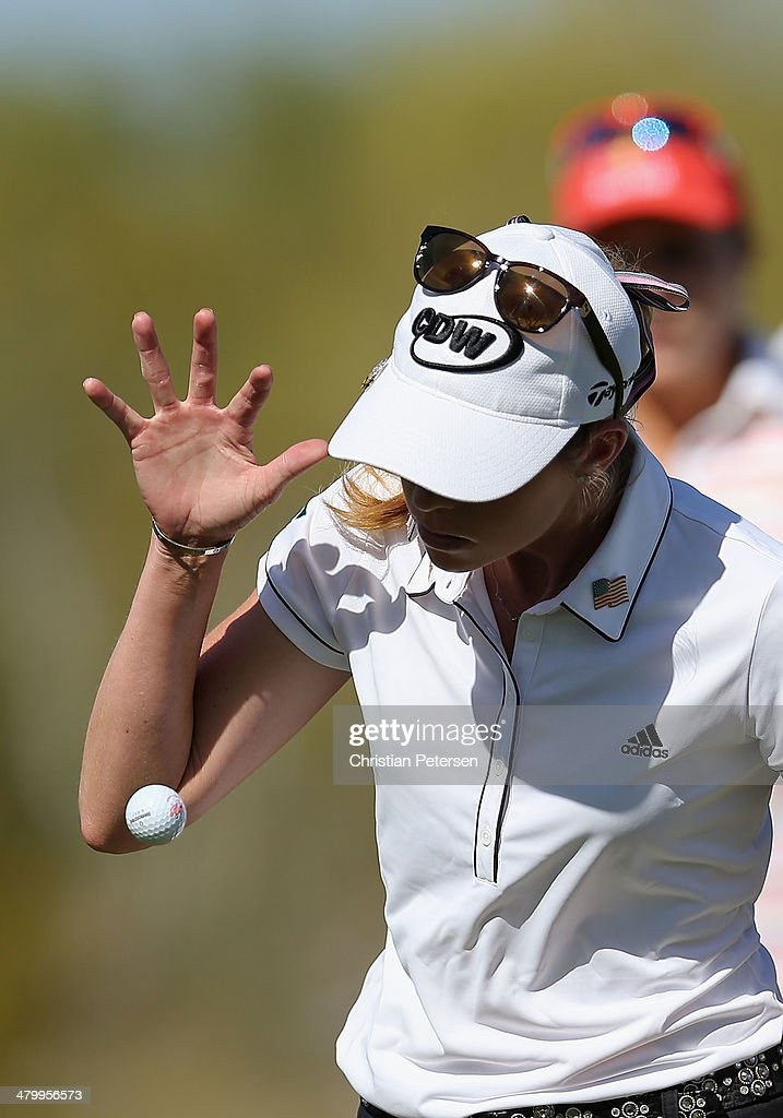 Paula Creamer reacts after putting on the eighth green during the second round of the JTBC LPGA Founders Cup at Wildfire Golf Club on March 21, 2014 in Phoenix, Arizona.