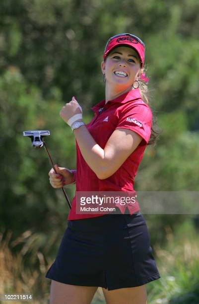 Paula Creamer reacts to her birdie on the seventh green during the first round of the ShopRite LPGA Classic held at Dolce Seaview Resort on June 18...