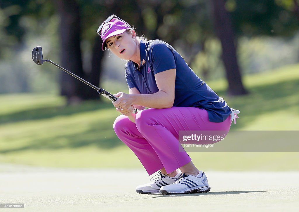 Paula Creamer reacts to missing a putt on the ninth green during Round One of the 2015 Volunteers of America North Texas Shootout Presented by JTBC at Las Colinas Country Club on April 30, 2015 in Irving, Texas.