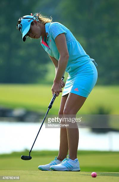 Paula Creamer strokes a birdie putt on the eighth green during the first round of the KPMG Women's PGA Championship held at Westchester Country Club...
