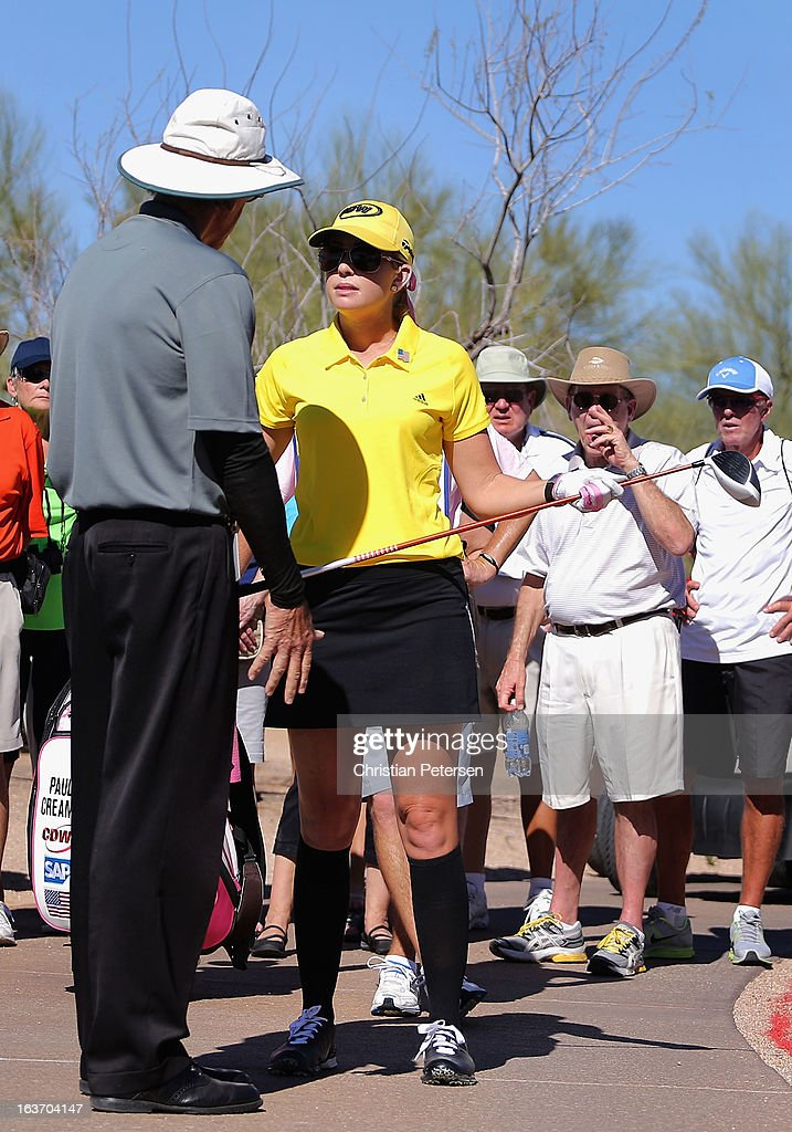 <a gi-track='captionPersonalityLinkClicked' href=/galleries/search?phrase=Paula+Creamer&family=editorial&specificpeople=209411 ng-click='$event.stopPropagation()'>Paula Creamer</a> talks with a rules official after her tee shot went out of bounds on the ninth hole during the first round of the RR Donnelley LPGA Founders Cup at Wildfire Golf Club on March 14, 2013 in Phoenix, Arizona.