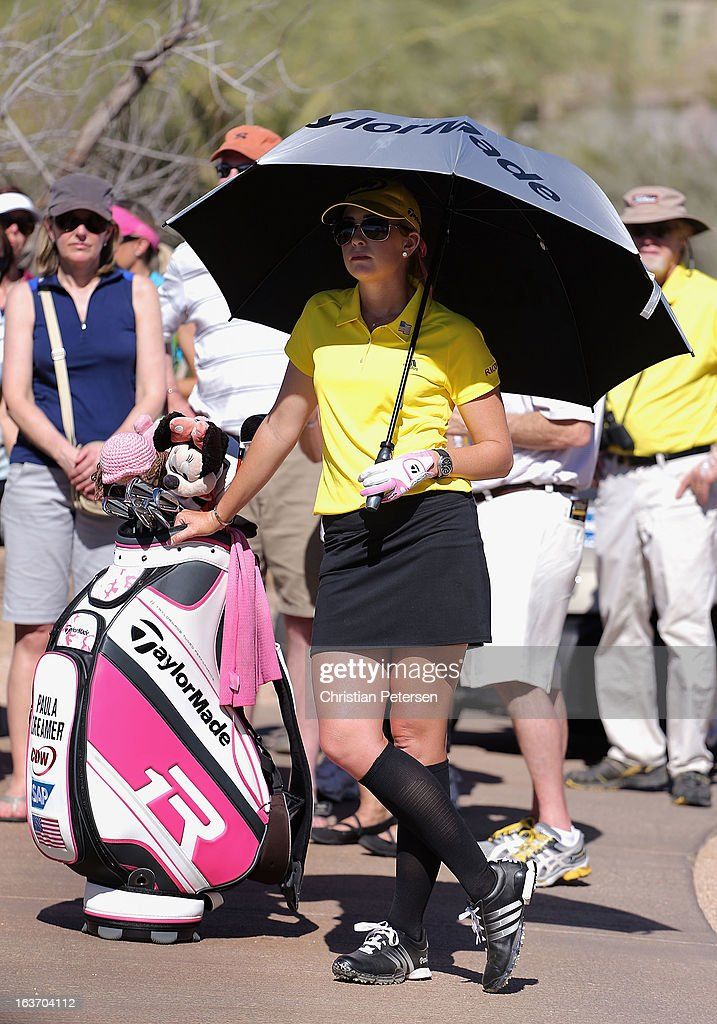<a gi-track='captionPersonalityLinkClicked' href=/galleries/search?phrase=Paula+Creamer&family=editorial&specificpeople=209411 ng-click='$event.stopPropagation()'>Paula Creamer</a> waits for a rules official after her tee shot went out of bounds on the ninth hole during the first round of the RR Donnelley LPGA Founders Cup at Wildfire Golf Club on March 14, 2013 in Phoenix, Arizona.
