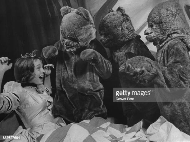 Paula Defoe as Goldilocks is frightened by the Three Bears in this 'who's been sleeping in my bed' scene from 'The Three Bears' second children's...
