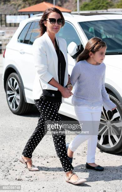 Part of this image has been pixellated to obscure the identity of the child Paula Echevarria and her daughter Daniella Bustamante are seen on April...