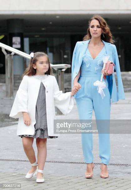 Part of this image has been pixellated to obscure the identity of the child Paula Echevarria and her daughter Daniella Bustamante are seen on May 28...