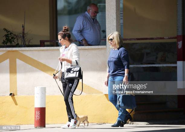 Paula Echevarria and her parents Luis Echevarria and Elena Colodron are seen on April 11 2017 in Madrid Spain