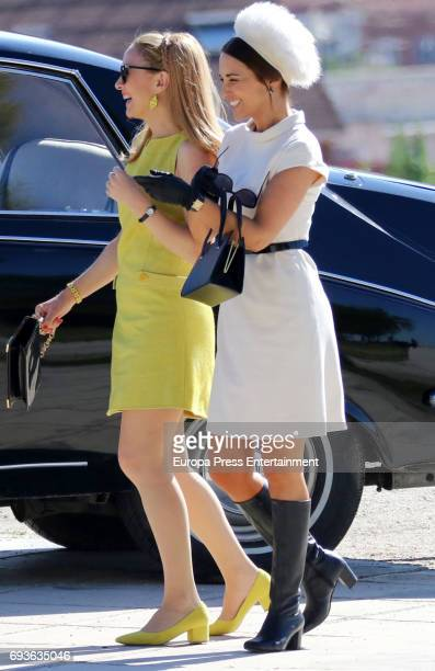 Paula Echevarria and Marta Hazas are seen during the set filming of Galerias Velvet on May 19 2017 in Madrid Spain