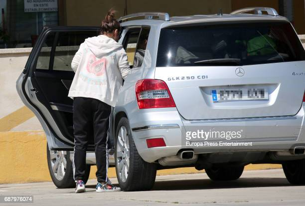 The licence plate has been pixelated Paula Echevarria is seen on April 11 2017 in Madrid Spain
