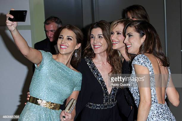 Paula Echevarria Raquel Sanchez Silva Susana Griso and Toni Acosta taking a selfie during 'Mujer Hoy' awards gala at Palace Hotel on December 16 2014...