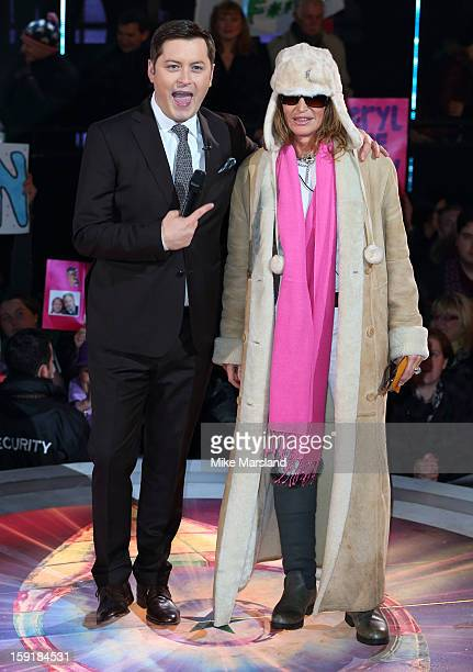 Paula Hamilton onstage with presenter Brian Dowling after becoming the first celebrity evicted to be evicted from the Big Brother house at Elstree...