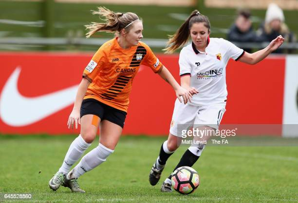 Paula Howells of London Bees and Chloe Bassett of Watford Ladies FC challenge for the ball during the WSL 2 match between Watford Ladies v London...