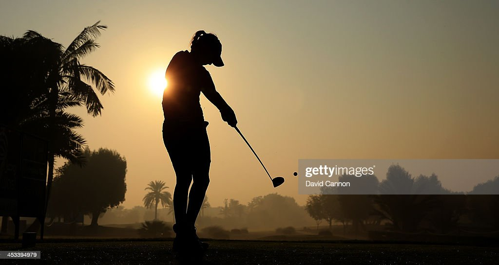 Paula Hurtado of Colombia tees off from the 10th tee after waiting thirty minutes for the early morning fog to clear during the first round of the...
