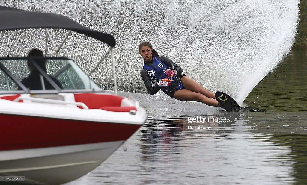 Paula Jaramillo of Colombia competes during the Final Water Skiing Open Ladies Slalom event as part of the XVII Bolivarian Games Trujillo 2013 at Laguna de Bujama on November 17, 2013 in Lima, Peru.