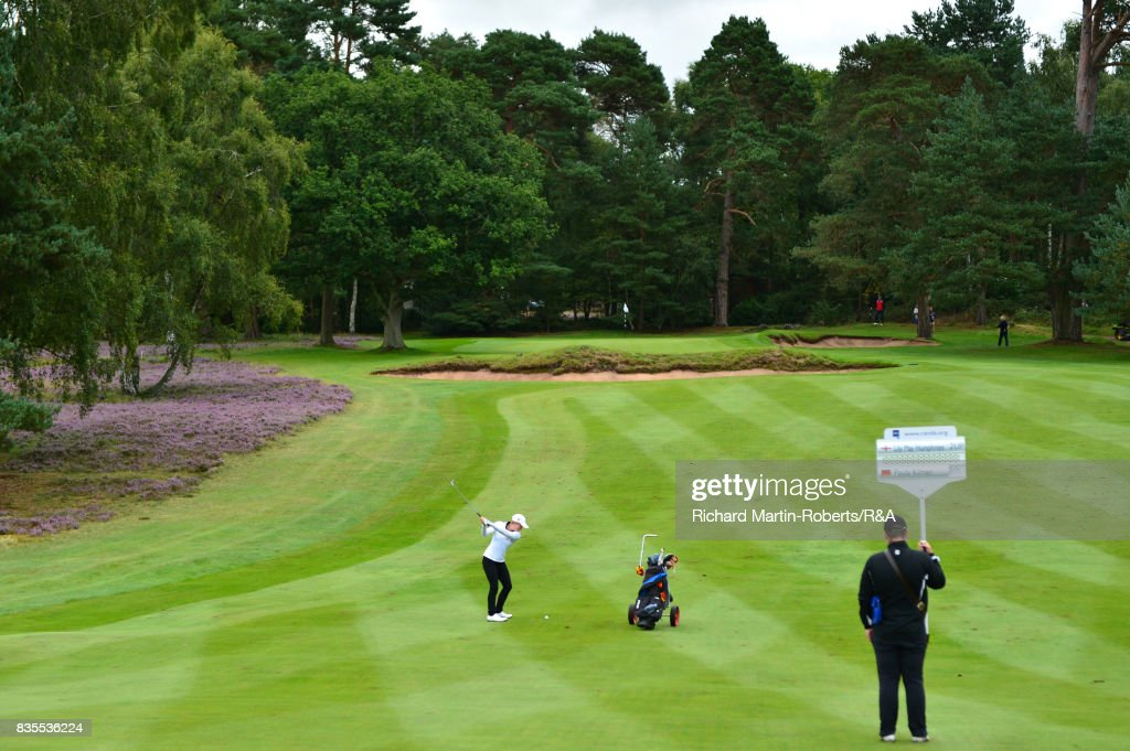 Paula Kimer of Germany hits an approach shot during her semi-final match during the Girls' British Open Amateur Championship at Enville Golf Club on August 19, 2017 in Stourbridge, England.