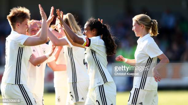 Paula Klensmann and Gia Corley of Germany celebrate the second goal during the U15 girl's international friendly match between Germany and...