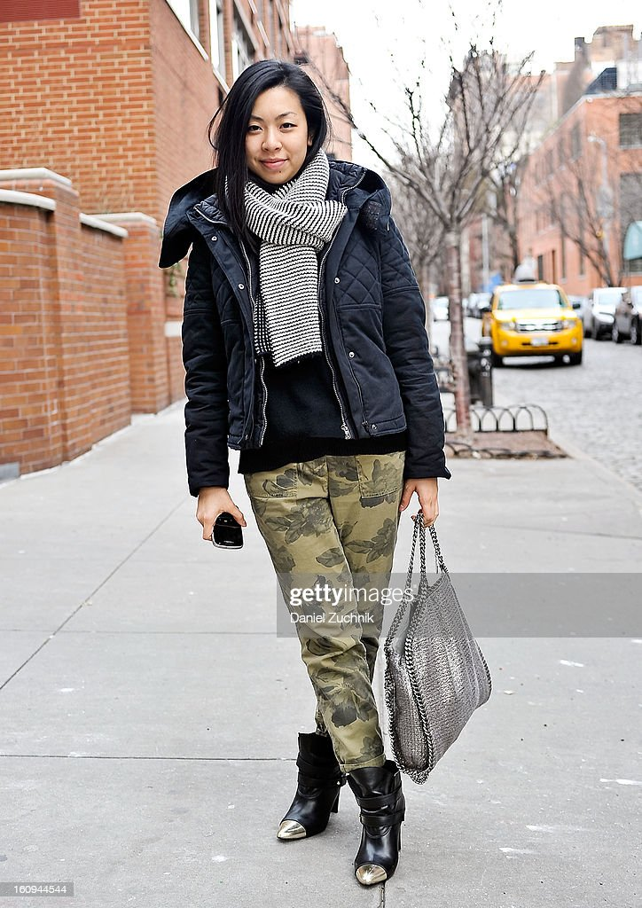 Paula Lee, accessories editor at Oprah magazine, seen outside the Dannijo jewelry presentation wearing J. Crew pants, Comptoir des Cotonniers jacket, Stuart Weitzman shoes and a Stella McCartney bag on February 7, 2013 in New York City.