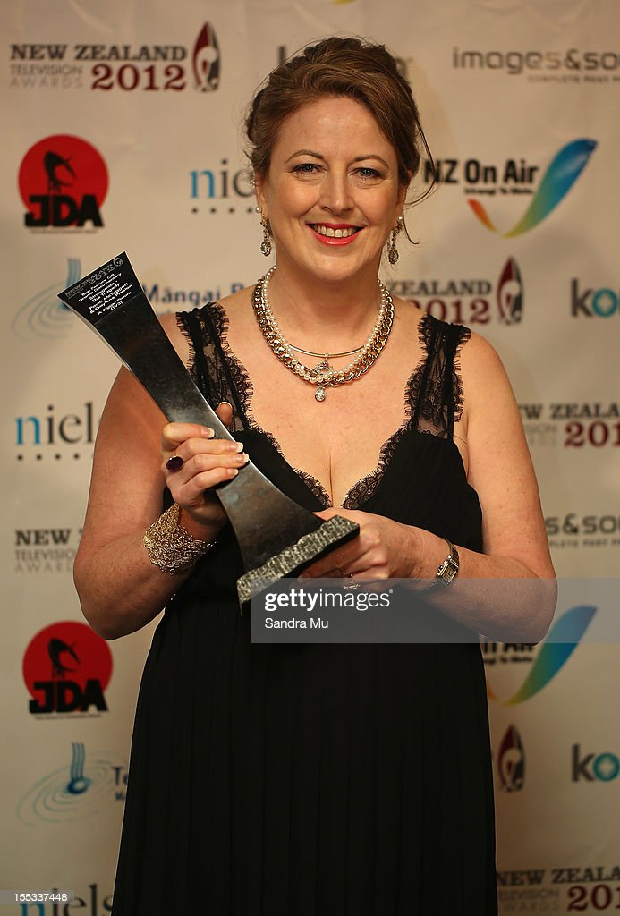 Paula McTaggart of Strongman poses with her award for Best Feature OR Drama Documentary during the New Zealand Television Awards at the Langham Hotel on November 3, 2012 in Auckland, New Zealand.