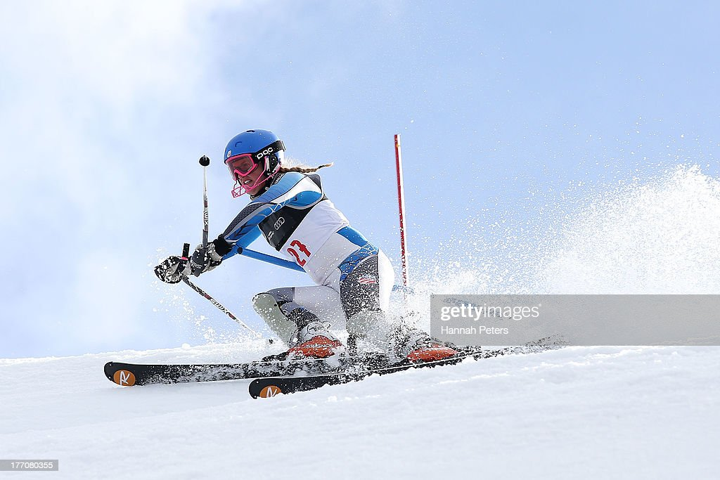 Paula Moltzan of the USA competes during the Alpine Slalom (FIS Australia New Zealand Cup) during day seven of the Winter Games NZ at Coronet Peak on August 21, 2013 in Queenstown, New Zealand.