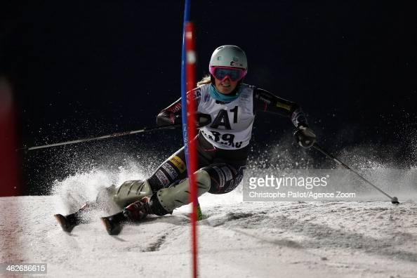 Paula Moltzan of the USA competes during the Audi FIS Alpine Ski World Cup Women's Slalom on January 14 2014 in Flachau Austria