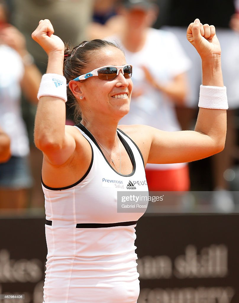 <a gi-track='captionPersonalityLinkClicked' href=/galleries/search?phrase=Paula+Ormaechea&family=editorial&specificpeople=8801820 ng-click='$event.stopPropagation()'>Paula Ormaechea</a> of Argentina celebrates after winning during a singles match between <a gi-track='captionPersonalityLinkClicked' href=/galleries/search?phrase=Paula+Ormaechea&family=editorial&specificpeople=8801820 ng-click='$event.stopPropagation()'>Paula Ormaechea</a> and Coco Wandeweghe as part of Fed Cup 2015 at Pilara Tenis Club on February 08, 2015 in Buenos Aires, Argentina.