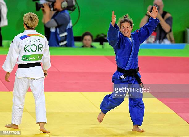 Paula Pareto of Argentina celebrates defeating BoKyeong Jeong of South Korea for the u48kg gold medal during day 1 of the 2016 Rio Olympic Judo on...
