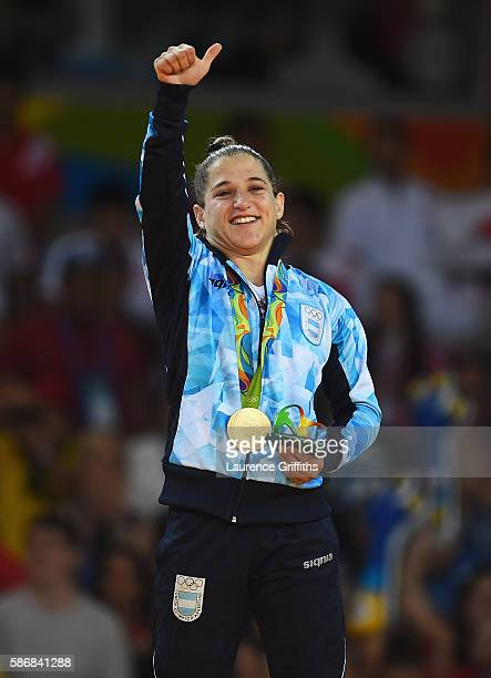 Paula Pareto of Argentina celebrates winning the gold medal in the Women's 48 kg Judo on Day 1 of the Rio 2016 Olympic Games at Carioca Arena 2 on...