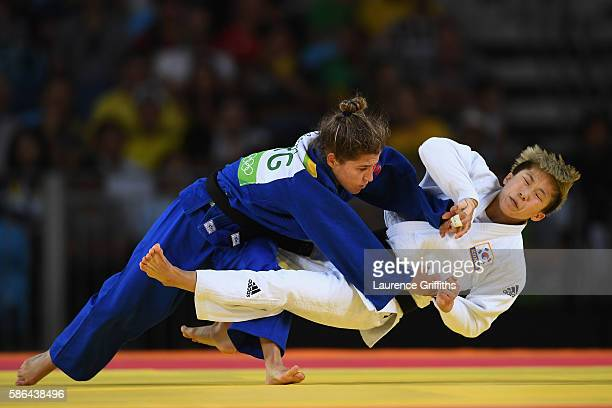 Paula Pareto of Argentina competes against Bokyeong Jeong of Korea in the Women's 48 kg Gold Medal contest on Day 1 of the Rio 2016 Olympic Games at...
