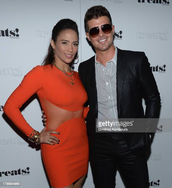 Paula Patton and Robin Thicke attend Robin Thicke 'Blurred Lines' Record Release Party at No 8 on September 4 2013 in New York City