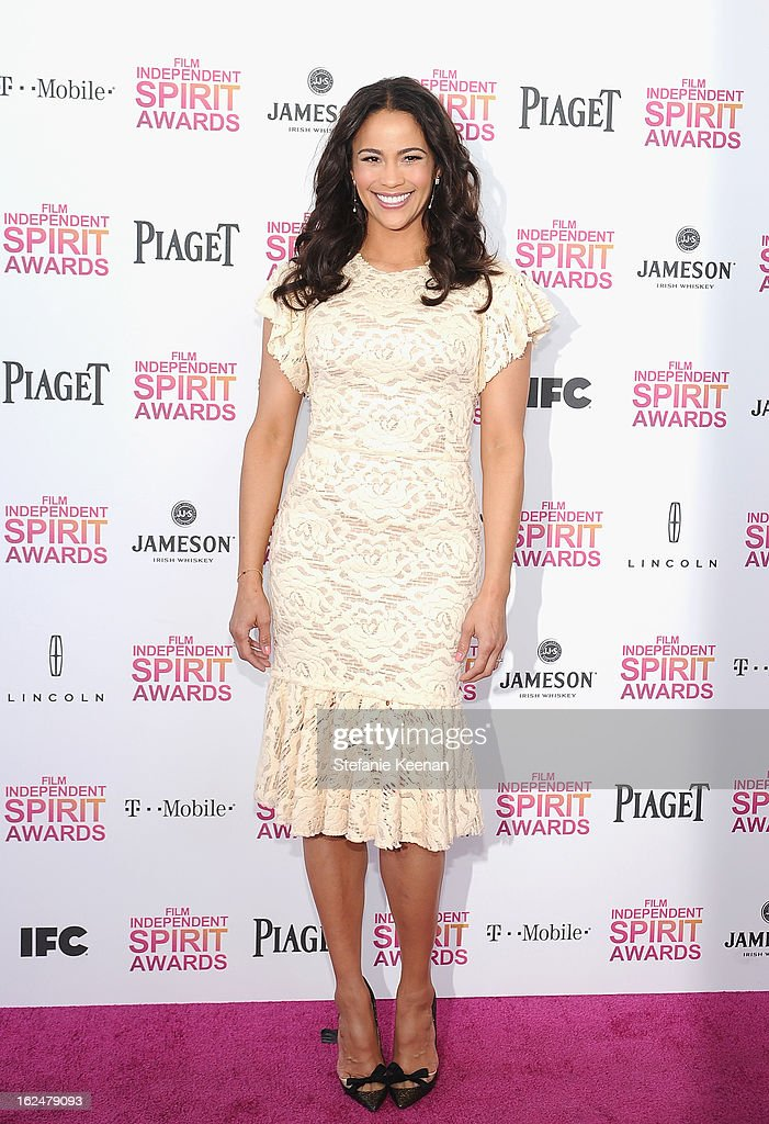 <a gi-track='captionPersonalityLinkClicked' href=/galleries/search?phrase=Paula+Patton&family=editorial&specificpeople=752812 ng-click='$event.stopPropagation()'>Paula Patton</a> poses in the Piaget Lounge during The 2013 Film Independent Spirit Awards on February 23, 2013 in Santa Monica, California.