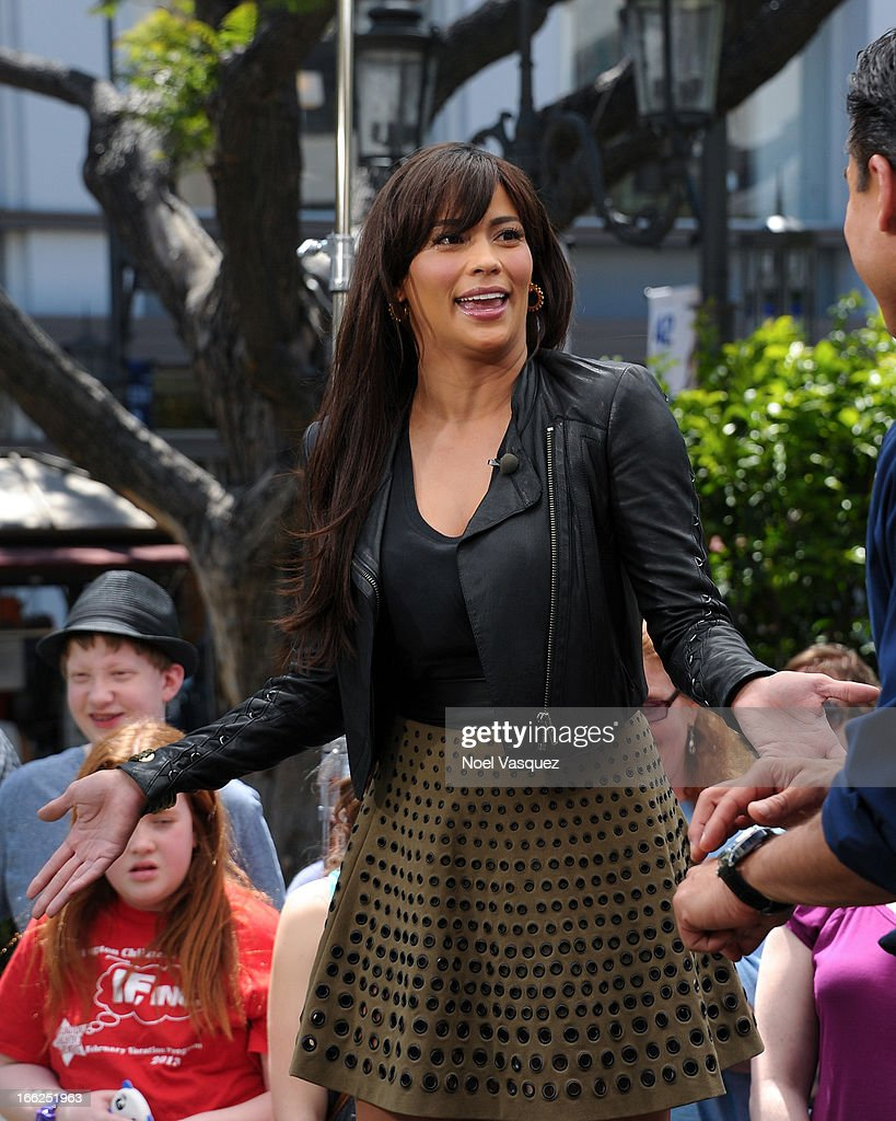 <a gi-track='captionPersonalityLinkClicked' href=/galleries/search?phrase=Paula+Patton&family=editorial&specificpeople=752812 ng-click='$event.stopPropagation()'>Paula Patton</a> visits 'Extra' at The Grove on April 10, 2013 in Los Angeles, California.