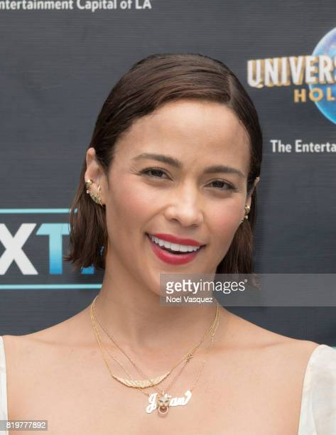Paula Patton visits 'Extra' at Universal Studios Hollywood on July 20 2017 in Universal City California