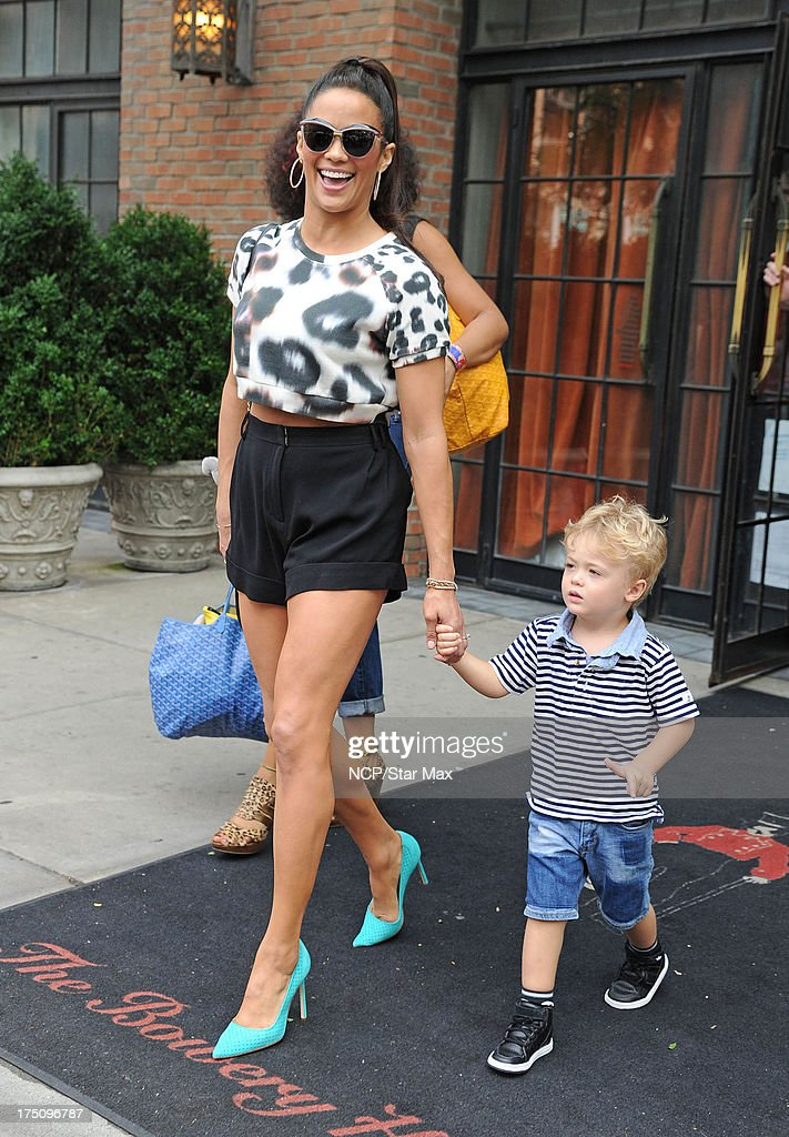 <a gi-track='captionPersonalityLinkClicked' href=/galleries/search?phrase=Paula+Patton&family=editorial&specificpeople=752812 ng-click='$event.stopPropagation()'>Paula Patton</a> with her son, Julian Thicke, as seen on July 31, 2013 in New York City.