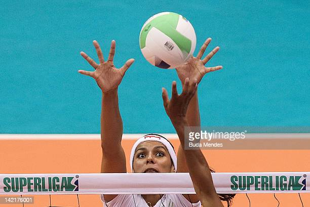 Paula Pequeno of Volei Futuro team during a Women's Volleyball Super League Playoffs Semifinals at Maracanazinho stadium on March 31 2012 in Rio de...