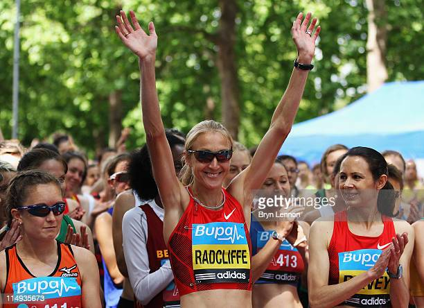 Paula Radcliffe and Jo Pavey of Great Britain prepare to run the Bupa London 10000 Run on May 30 2011 in London England