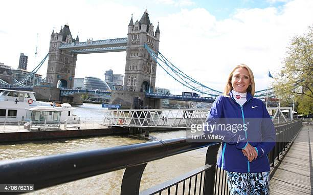 Paula Radcliffe attends the photocall ahead of Sunday's London Marathon at Tower Hotel on April 22 2015 in London England