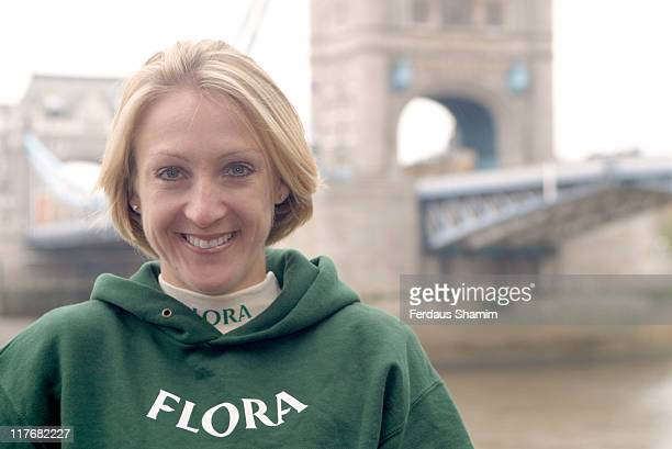Paula Radcliffe during Flora London Marathon Photocall at The Thistle Tower Hotel in London Great Britain