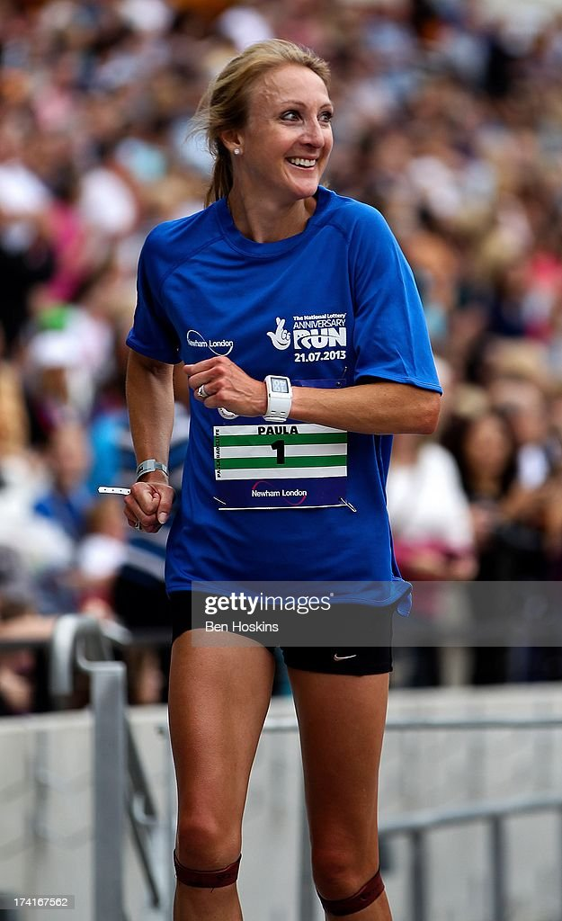 <a gi-track='captionPersonalityLinkClicked' href=/galleries/search?phrase=Paula+Radcliffe&family=editorial&specificpeople=202257 ng-click='$event.stopPropagation()'>Paula Radcliffe</a> makes her way round the course during The National Lottery Anniversary Run at The Queen Elizabeth Olympic Park on July 21, 2013 in Stratford, England.