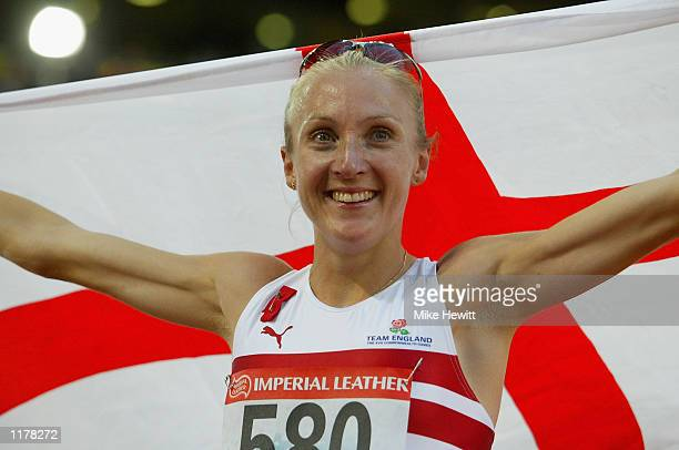 Paula Radcliffe of England celebrates after winning gold in the Womens 5000m Final at City of Manchester Stadium during the 2002 Commonwealth Games...